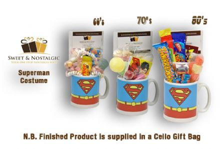 Superman Costume Mug with/without a superhero selection of 60's, 70's or 80's Retro Sweets.